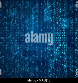 Stream of binary code. Abstract digital binary matrix number technology futuristic concept background. Vector illustration - Stock Photo