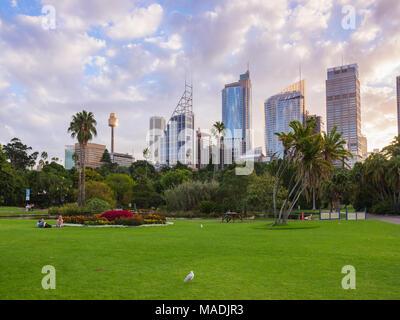 April 1st, 2018, Sydney, Australia - Royal Botanic garden landscape on a weekend. Beautiful fall landscape - Stock Photo