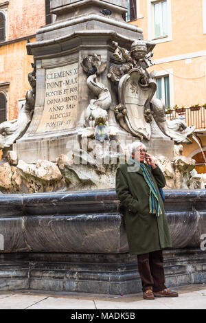 The Fontana del Pantheon was commissioned by Pope Gregory XIII and is located in the Piazza della Rotonda, Rome, in front of the Roman Pantheon. Rome. - Stock Photo