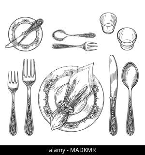 ... etiquette formal; Table setting drawing. Hand drawing dinnerware with napkin in ring and plate decorative fork  sc 1 st  Alamy & Table setting drawing. Hand drawing dinnerware with napkin in ring ...