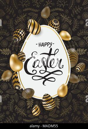 Happy Easter lettering background with realistic golden shine decorated eggs, confetti, golden brush splash. Vector illustration greeting card, ad, pr - Stock Photo