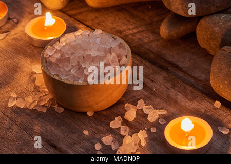 Spa setting and health care items on dark wooden background. Space for text - Stock Photo