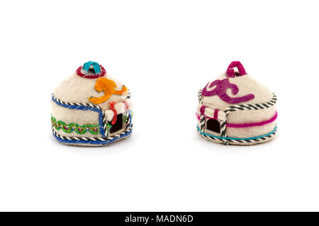 Toy oriental made by own hands two houses on a white background - Stock Photo