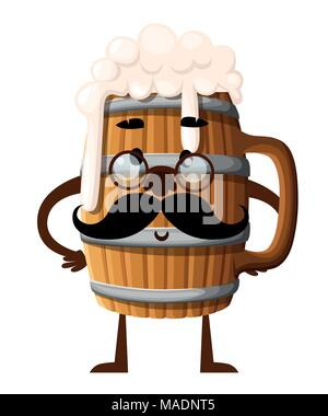 Cartoon style character design. Wooden beer mug with black mustache. Mascot with glasses. Vector illustration isolated on white background. Website pa - Stock Photo