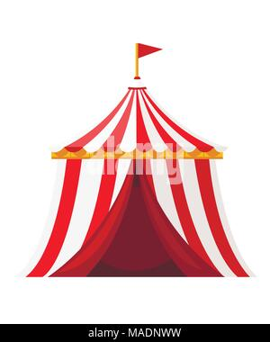 Red circus tent with flag. Amusement park concept. Vector illustration isolated on white background. Website page and mobile app design. - Stock Photo