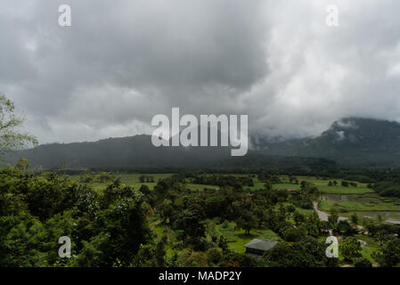 Hanalei Valley vista on Kauai, Hawaii, in winter after a major rainstorm - Stock Photo