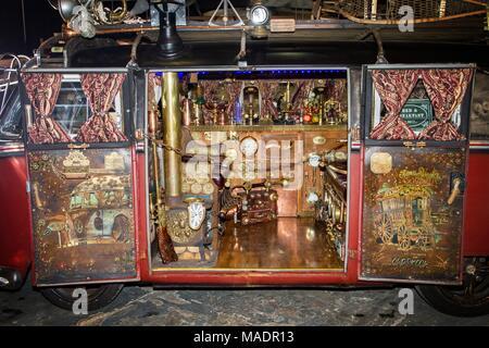 steampunk sub culture post apocalypse apocalyptic spyglas goth crossover machine machinery costume fancy dress up gothic mechanism futuristic clock - Stock Photo