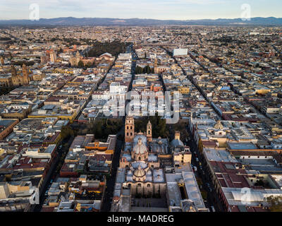 Aerial, San Agustin Church, Templo de San Agustín, San Luis Potosi, Mexico - Stock Photo