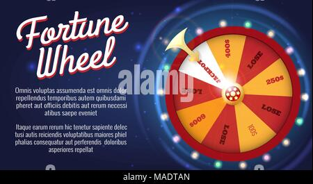 Motion fortune wheel poster. Wheel of fortune banner, roulette or lottery game for bankrupt or success opportunity vector illustration - Stock Photo