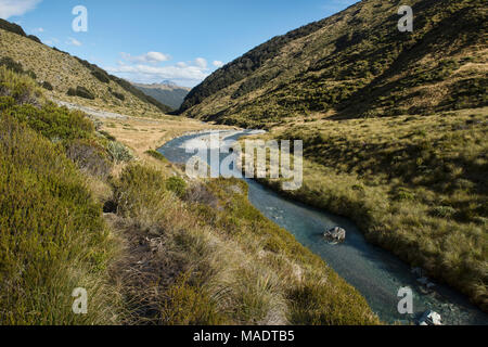 Fabulous scenery on the Earnslaw Burn Track, location for the Hobbit movies Glenorchy, New Zealand - Stock Photo