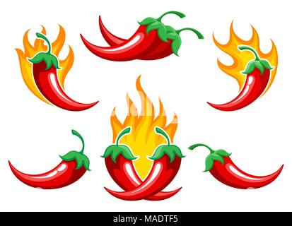 Chili pepper on fire. Closeup burned cayenne pepper for spicy food ingredients or capsicum salsa cooking, vector illustration - Stock Photo