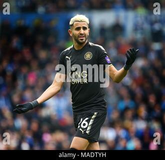 Riyad Mahrez of Leicester during the Premier League match between Brighton and Hove Albion and Leicester City at the American Express Community Stadium in Brighton and Hove. 31 Mar 2018 *** Editorial use only. No merchandising. For Football images FA and Premier League restrictions apply inc. no internet/mobile usage without FAPL license - for details contact Football Dataco ***