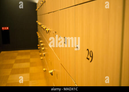 Locker room with a wood finish and styling - Stock Photo