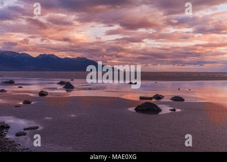 Sunset Along Cook Inlet Alaska - Stock Photo