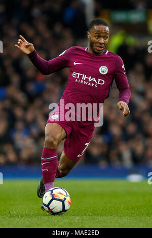 Liverpool, UK, 31 Mar 2018. Raheem Sterling of Manchester City during the Premier League match between Everton and Manchester City at Goodison Park on March 31st 2018 in Liverpool, England. (Photo by Daniel Chesterton/phcimages.com) - Stock Photo