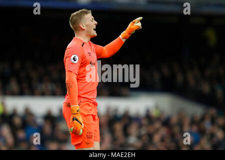 Liverpool, UK, 31 Mar 2018. Jordan Pickford of Everton during the Premier League match between Everton and Manchester City at Goodison Park on March 31st 2018 in Liverpool, England. (Photo by Daniel Chesterton/phcimages.com) - Stock Photo