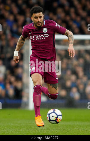 Liverpool, UK, 31 Mar 2018. Kyle Walker of Manchester City during the Premier League match between Everton and Manchester City at Goodison Park on March 31st 2018 in Liverpool, England. (Photo by Daniel Chesterton/phcimages.com) - Stock Photo
