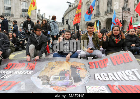 London, UK, 31st March, 2018.  National Demonstration against Turkey's invasion and occupation of Afrin! Demand a ceasefire NOW so that the body of British citizen Anna Campbell can be retrieved and brought home to her family. Penelope Barritt/Alamy Live News - Stock Photo