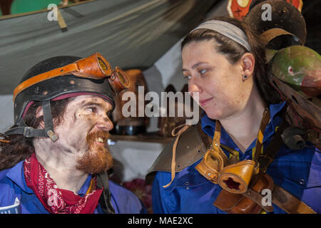 Manchester, UK, 31st March 2018. Post-apocalyptic TimeQuake Steampunk Festival,  Weekend at the Asylum, the Planet's largest steampunk festival where a City becomes Wasteland Costumes Capital for four days. The Victorian Steampunk Society, teamed up with Manchester's Bowlers Exhibition Centre and the organisers of For the Love of Sci Fi to create create a realistic genre, masquerade, fantasy carnival cosplay Expo. Credit: MediaWorldImages/AlamyLiveNews - Stock Photo