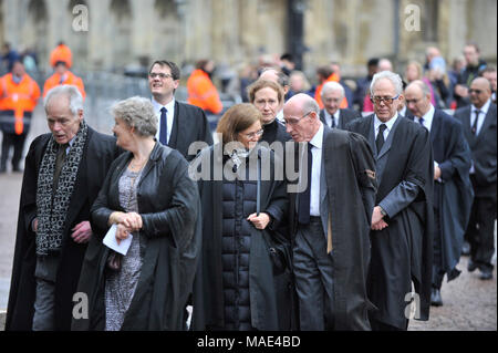 Cambridge, Britain. 31st Mar, 2018. University professors arrive at the private funeral of British physicist Stephen Hawking at the Great St Mary's Church in Cambridge, Britain, on March 31, 2018. The funeral of Professor Stephen Hawking was held Saturday at a church near the Cambridge University college where he was a fellow for more than half a century. Credit: Stephen Chung/Xinhua/Alamy Live News - Stock Photo