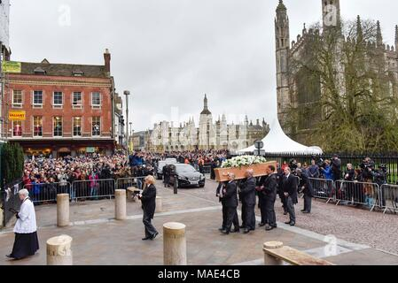 Cambridge, Britain. 31st Mar, 2018. The coffin of British physicist Stephen Hawking is carried into the Great St Mary's Church in Cambridge, Britain, on March 31, 2018. The funeral of Professor Stephen Hawking was held Saturday at a church near the Cambridge University college where he was a fellow for more than half a century. Credit: Stephen Chung/Xinhua/Alamy Live News - Stock Photo
