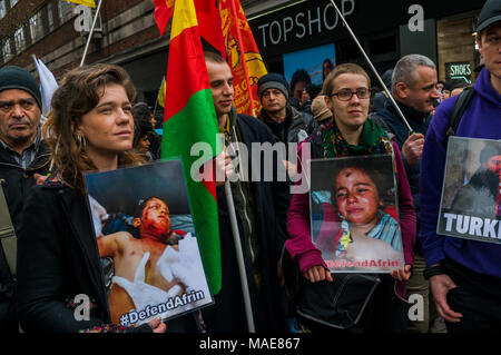 March 31, 2018 - London, UK. 31st March 2018. People meet at Marble Arch to march to Parliament Square demanding an end to the invasion of Afrin by Turkish forces and al Qaeda-affiliated militias which aim to destroy a peaceful state and eliminate the majority Kurdish population of the area. Credit: ZUMA Press, Inc./Alamy Live News - Stock Photo