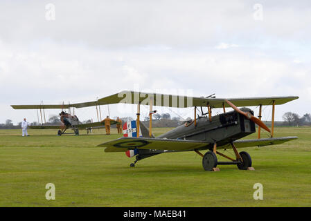The Royal Air Force was formed during the Great War on 1st April 1918 from its forebears the Royal Flying Corps and the Royal Naval Air Service. To mark the 100th anniversary a celebration event was held on the unique World War One Aerodrome at Stow Maries. A WWI BE2 running up behind a SE5 - Stock Photo