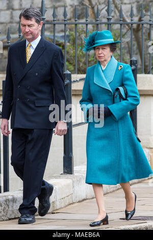 Windsor, UK. 1st April, 2018. Princess Anne, Princess Royal, arrives to attend the Easter Sunday service at St George's Chapel in Windsor Castle with her husband Vice Admiral Sir Timothy Laurence. Credit: Mark Kerrison/Alamy Live News