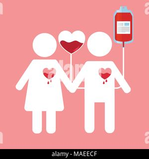 couple with dripping hearts and bag blood campaing save life vector illustration - Stock Photo