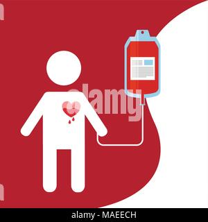 male with dripping heart and bag blood donation day vector illustration - Stock Photo