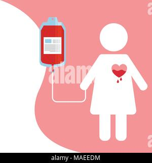 female silhouette with heart dripping blood bag vector illustration - Stock Photo