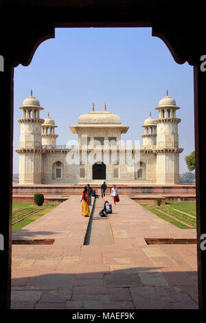 Framed view of  Itimad-ud-Daulah Mausoleum in Agra, Uttar Pradesh, India. This Tomb is often regarded as a draft of the Taj Mahal. - Stock Photo