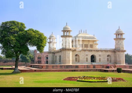Tomb of Itimad-ud-Daulah in Agra, Uttar Pradesh, India. This Tomb is often regarded as a draft of the Taj Mahal. - Stock Photo