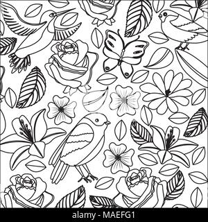 background vintage delicate flowers birds butterflies vector illustration - Stock Photo