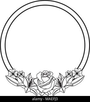 round label flowers branches decoration vector illustration - Stock Photo