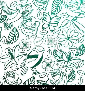background vintage delicate flowers birds butterflies vector illustration degraded color green - Stock Photo