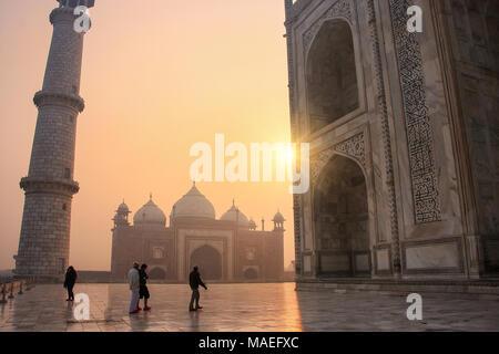 View of jawab from Taj Mahal base at sunrise, Agra, Uttar Pradesh, India. Taj Mahal was designated as a UNESCO World Heritage Site in 1983. - Stock Photo