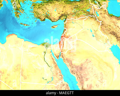 Map of israel highlighted in red on a globe 3d illustration stock israel highlighted in red from earths orbit 3d illustration elements of this image furnished gumiabroncs Images