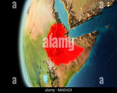 Illustration of Ethiopia as seen from Earth's orbit in late evening. 3D illustration. Elements of this image furnished by NASA. - Stock Photo