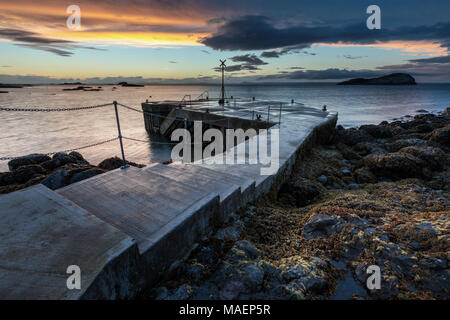 The Old Chain Pier at North Berwick, East Lothian, Scotland, taken at sunset  in August - Stock Photo