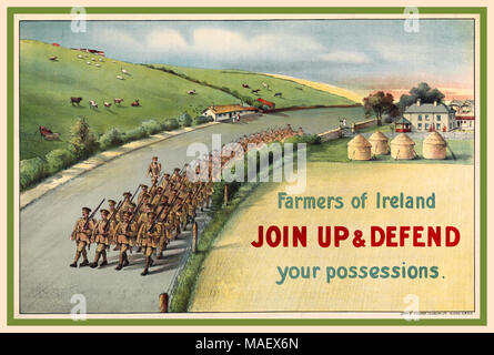 1914 Vintage WW1 Recruitment Propaganda Poster with column of Irish soldiers marching along a country road in Ireland, passing haystacks, houses and animals grazing in fields. Farmers of Ireland JOIN UP AND DEFEND your possessions. 140000 Irish men joined the British army in Ireland to fight in the First World War. - Stock Photo