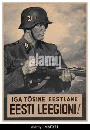 1942 WW2 Nazi Waffen SS Propaganda Recruitment Poster 'Every Serious Estonian to the Estonian Legion' ! - Stock Photo