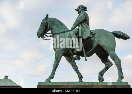 Equestrian statue of King Christian IX of Denmark is located at the Christiansborg Palace in Copenhagen, Denmark. - Stock Photo