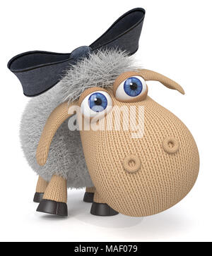 3d illustration funny fluffy sheep do different things/ fluffy farm animals amuse themselves - Stock Photo