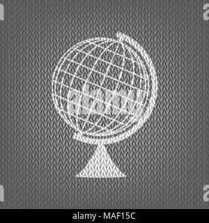 Earth Globe sign. Vector. White knitted icon on gray knitted background. Isolated. - Stock Photo