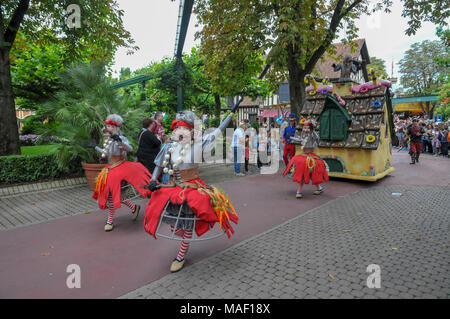 The Parade at Europa-Park is the largest theme park in Germany. is located at Rust between Freiburg and Strasbourg, France. - Stock Photo