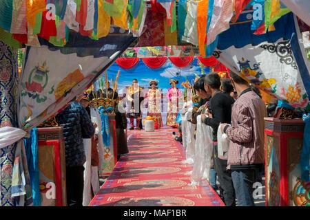 Tibetan wedding ceremony, Jinchuan County, Sichuan Province, China - Stock Photo