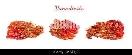 Macro shooting of natural gemstone. Raw mineral vanadinite, Morocco. Isolated object on a white background. - Stock Photo