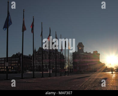 Clinton Square in Syracuse, New York at sunrise. March 31, 2018 - Stock Photo