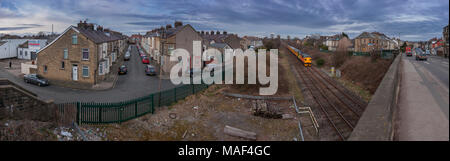 Colas Rail class 37 locomotive hauling  Network rail plain line pattern recognition infrastructure monitoring train on the Railway line to Morecambe - Stock Photo